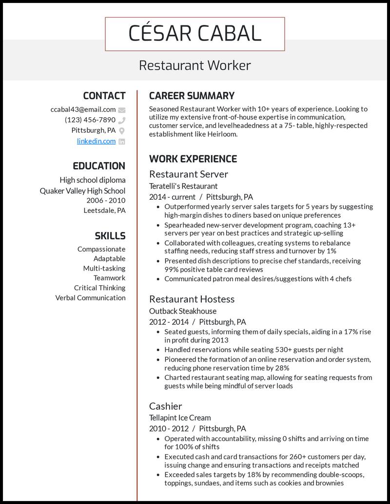 Restaurant resume example