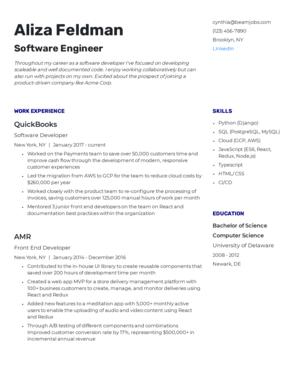 Default custom resume template 6