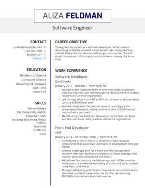 Default custom resume template 5