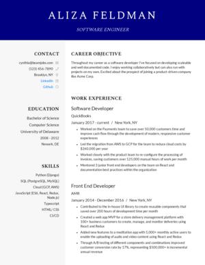 Default custom resume template 1