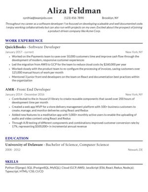 Default custom resume template 3