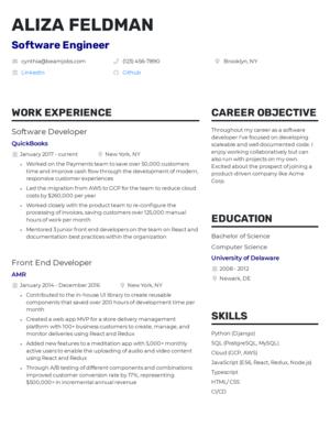 Default custom resume template 2
