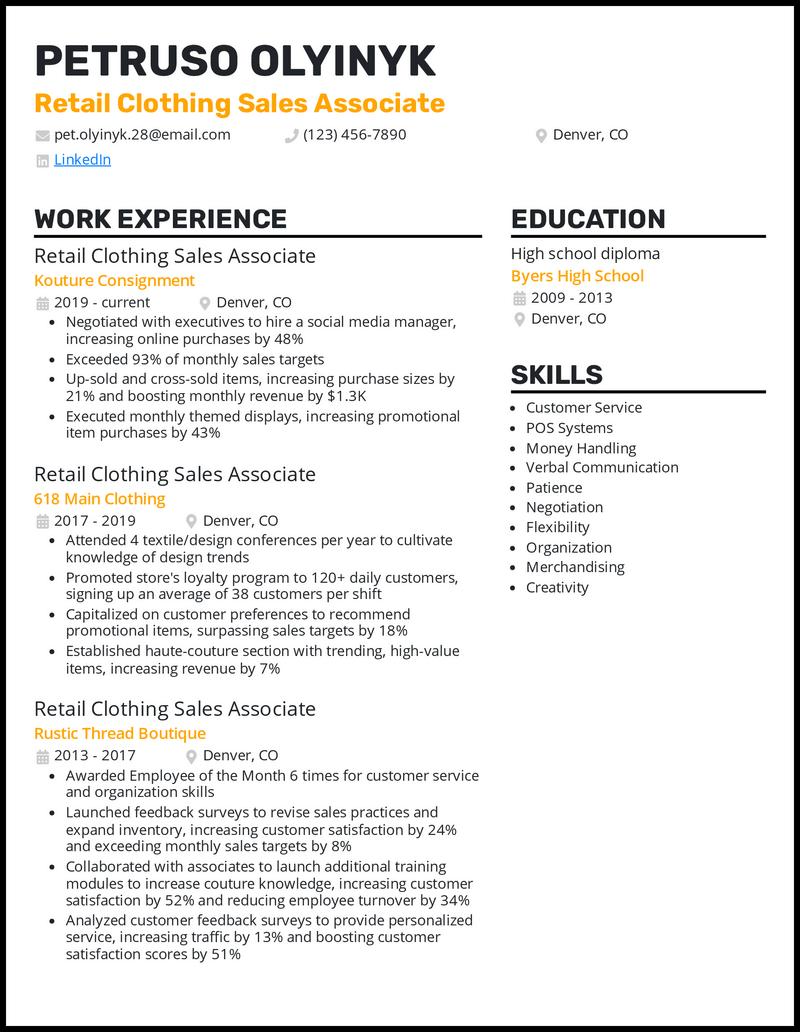 Retail Clothing Sales Associate resume example