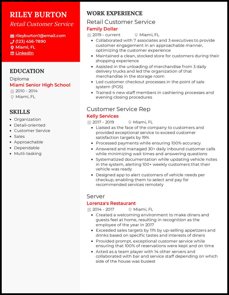 Retail Customer Service resume example