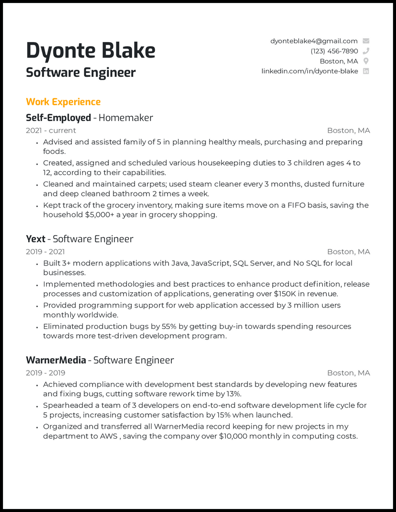 Returning To Workforce resume example