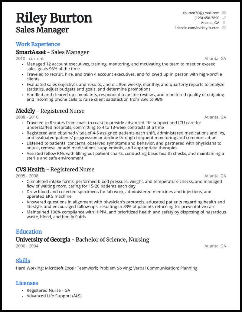RN Career Change resume example