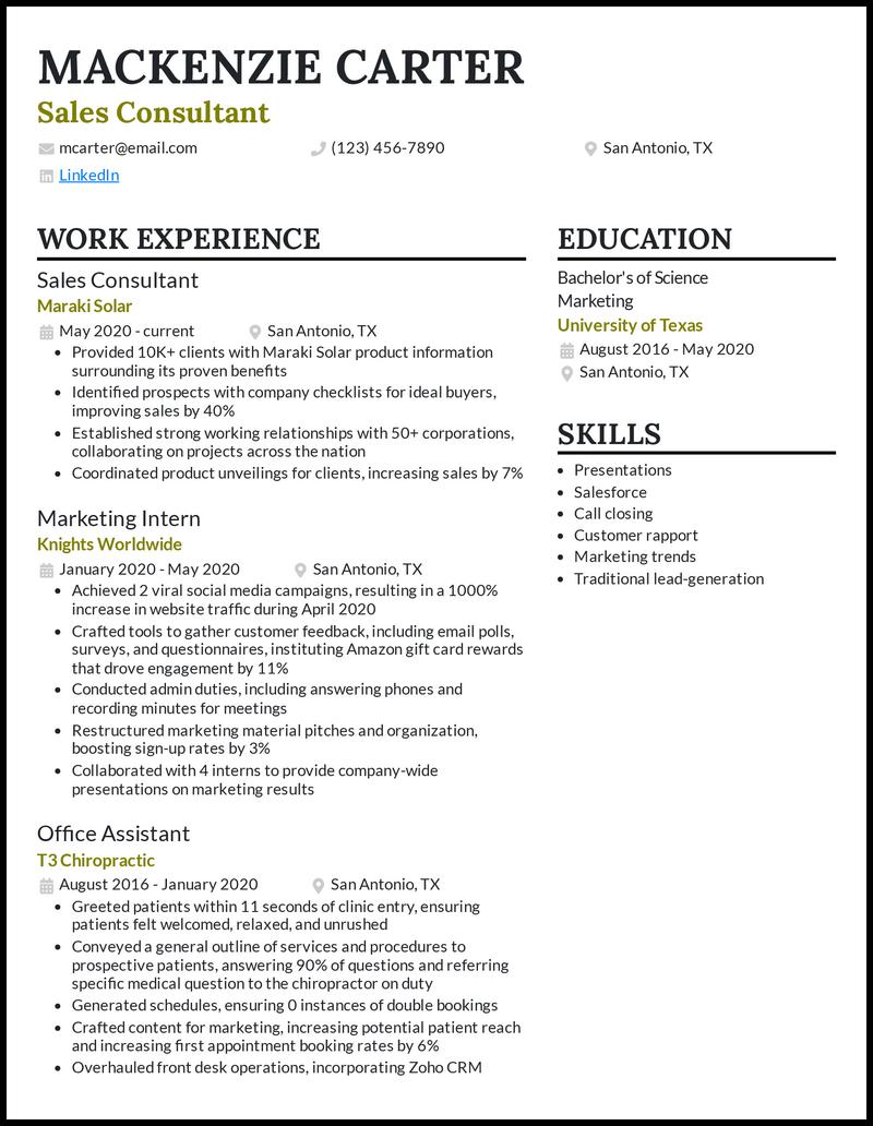 Sales Consultant resume example