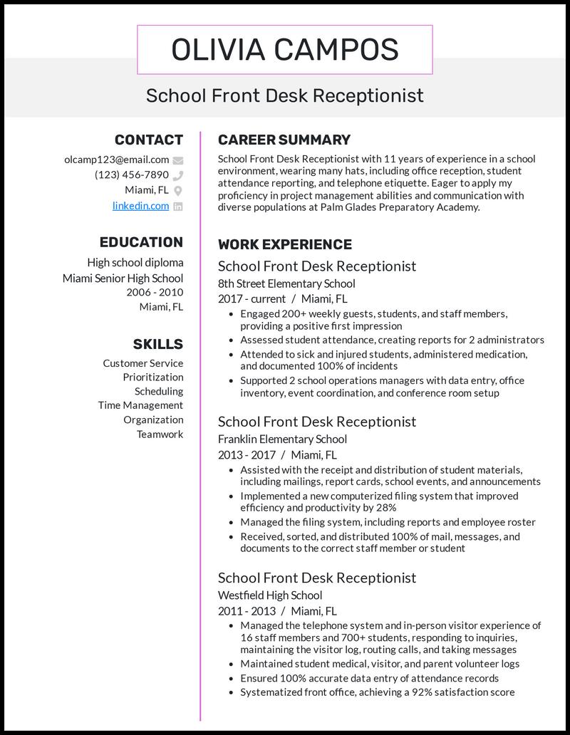 School Front Desk Receptionist resume example