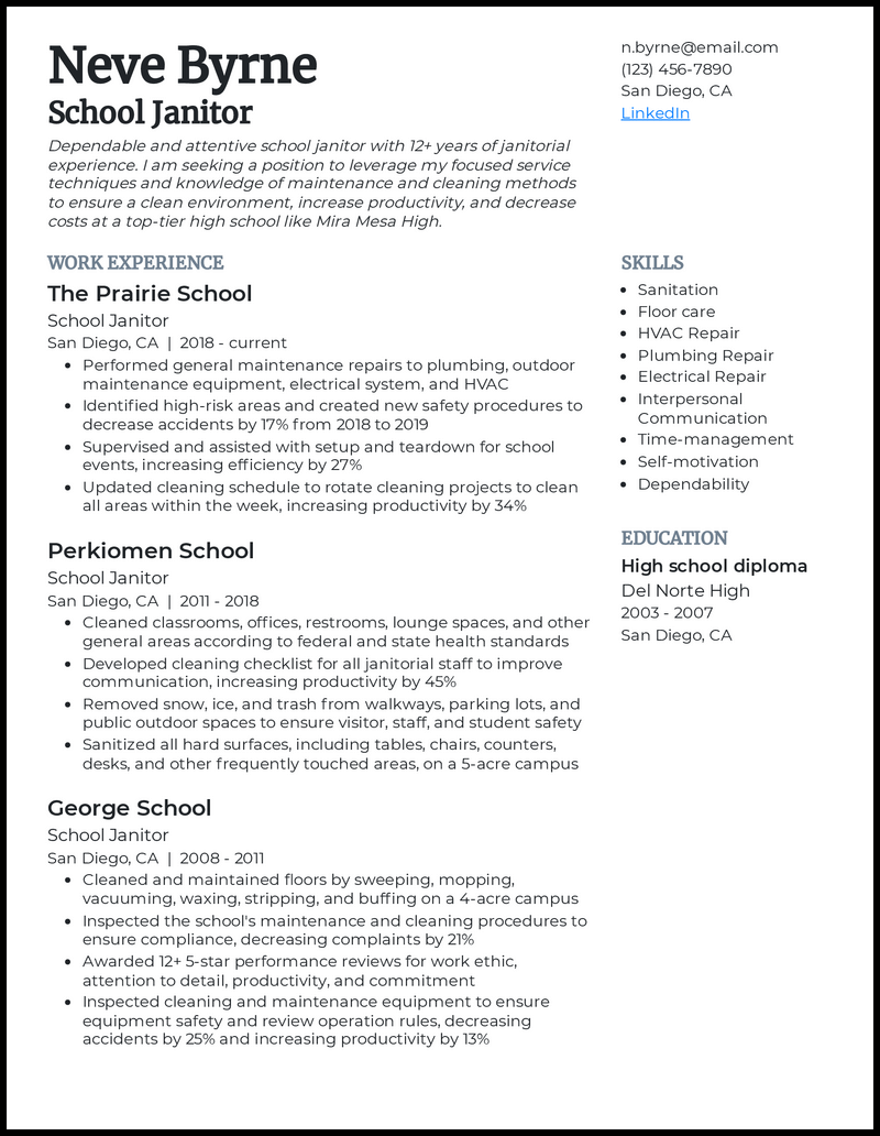 School Janitor resume example