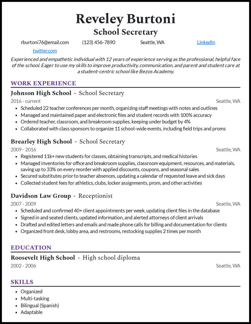 School Secretary resume example