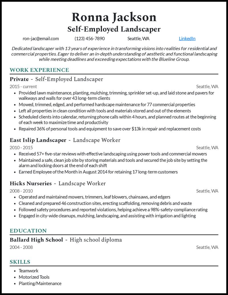 Self Employed Landscaper resume example