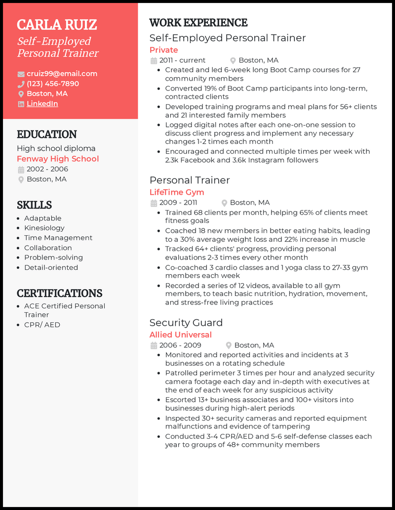 Self Employed Personal Trainer resume example
