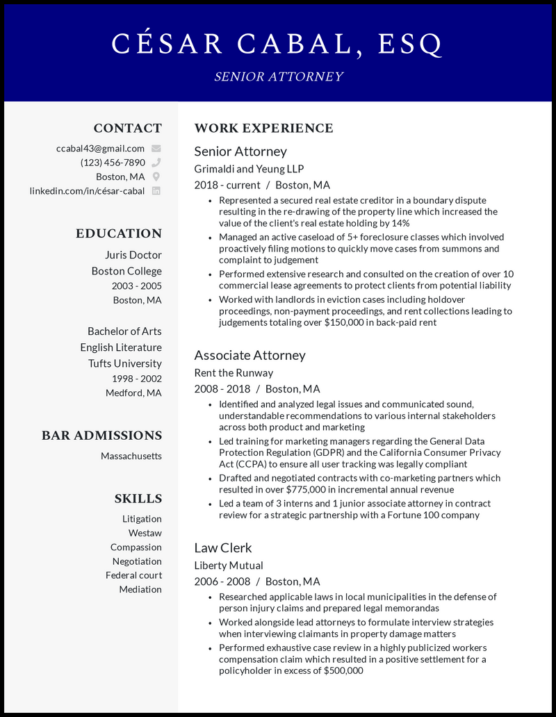 Senior Attorney resume example