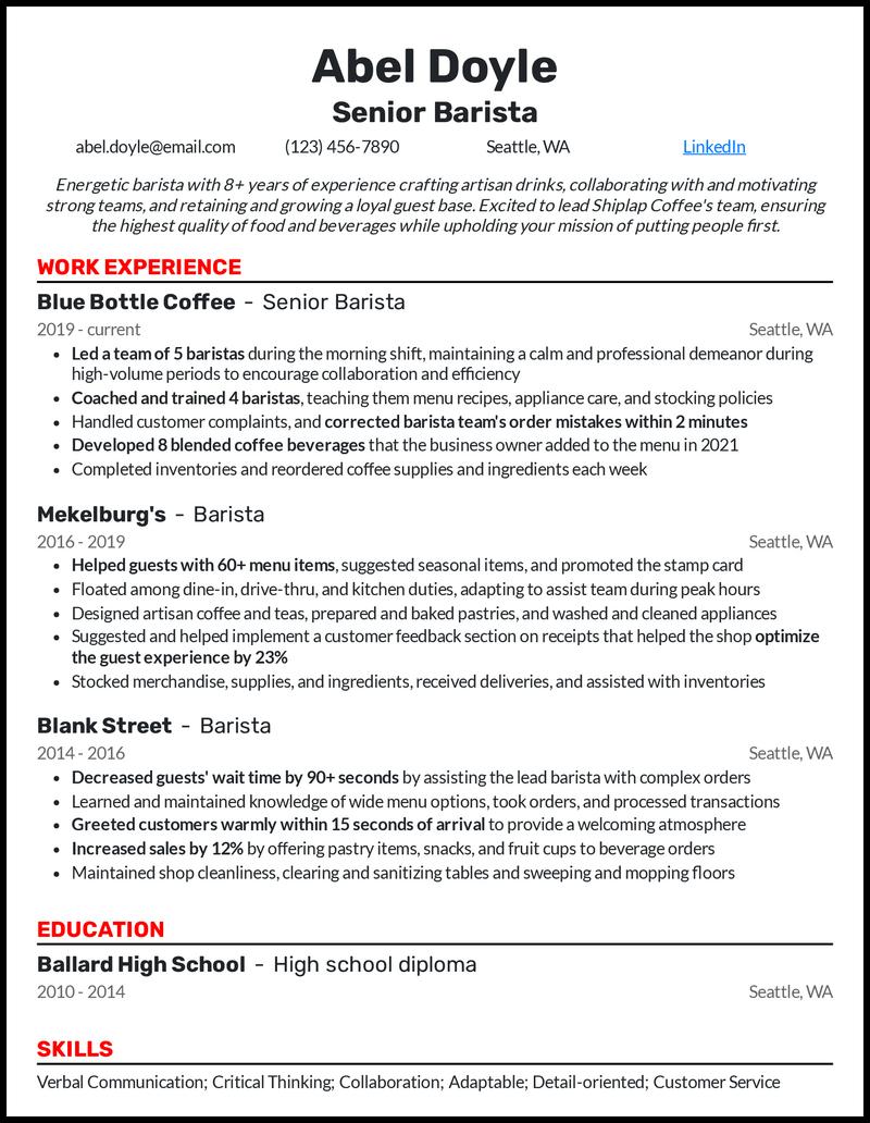 Senior Barista resume example