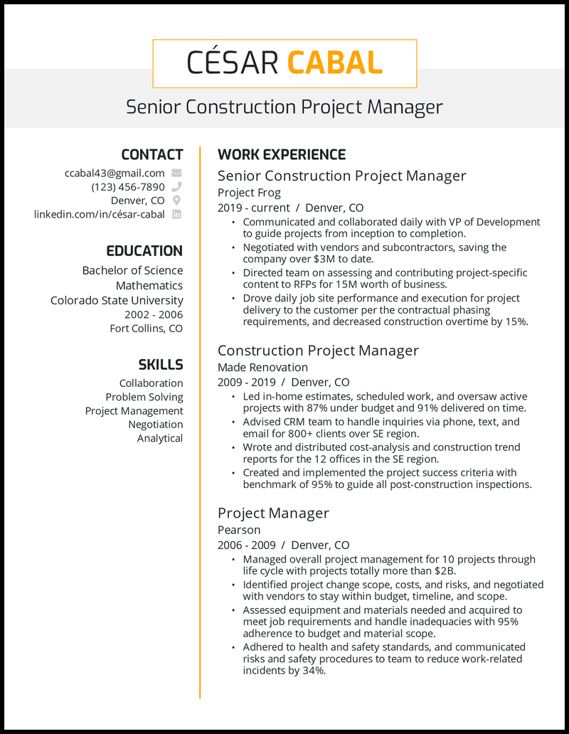 Senior Construction Project Manager resume example