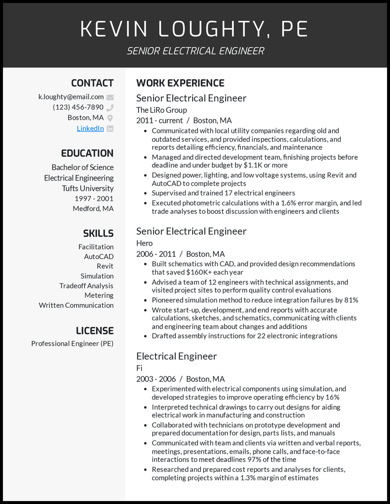 Senior Electrical Engineer resume example