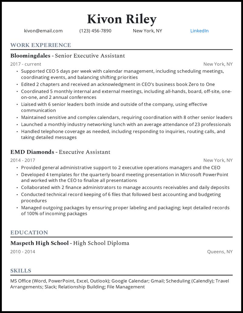 Senior Executive Assistant resume example