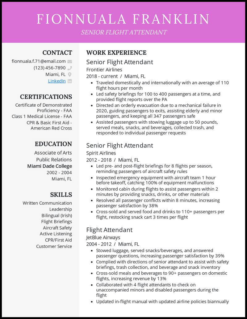 Senior Flight Attendant resume example