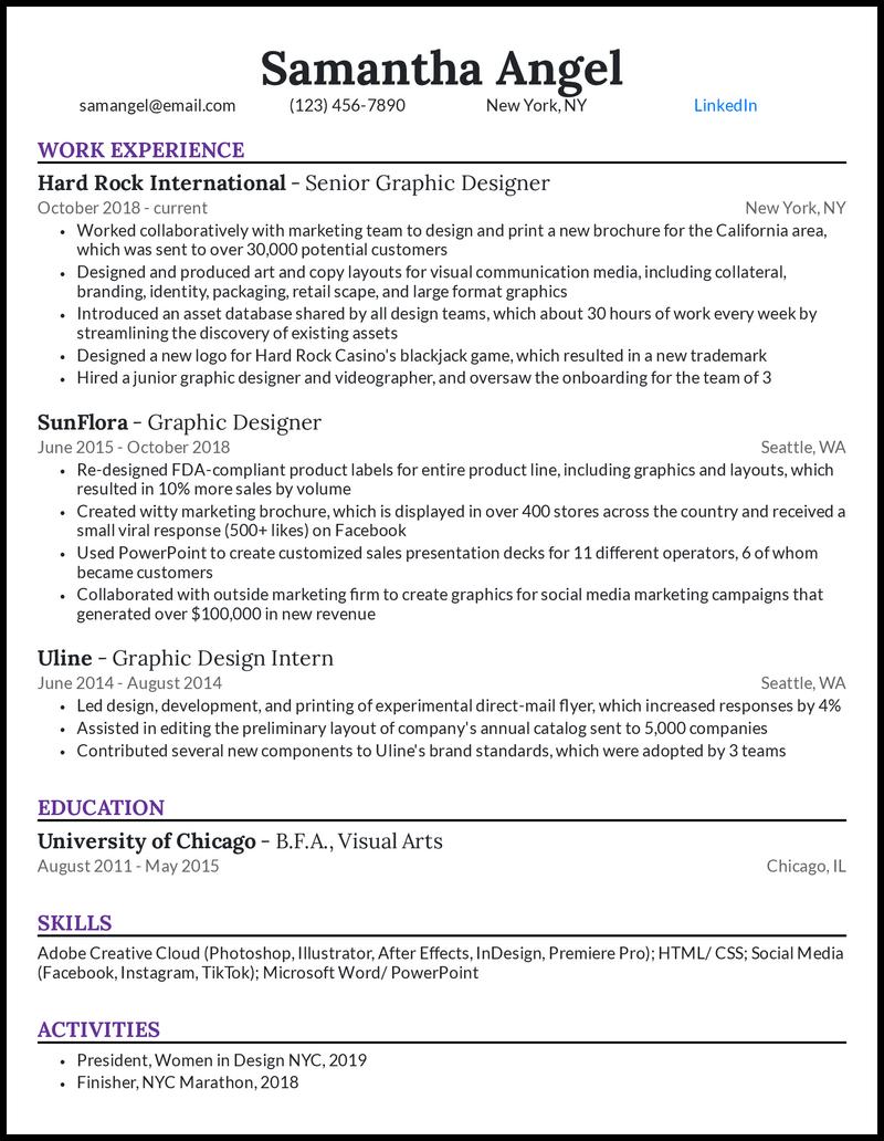 Senior graphic designer resume example