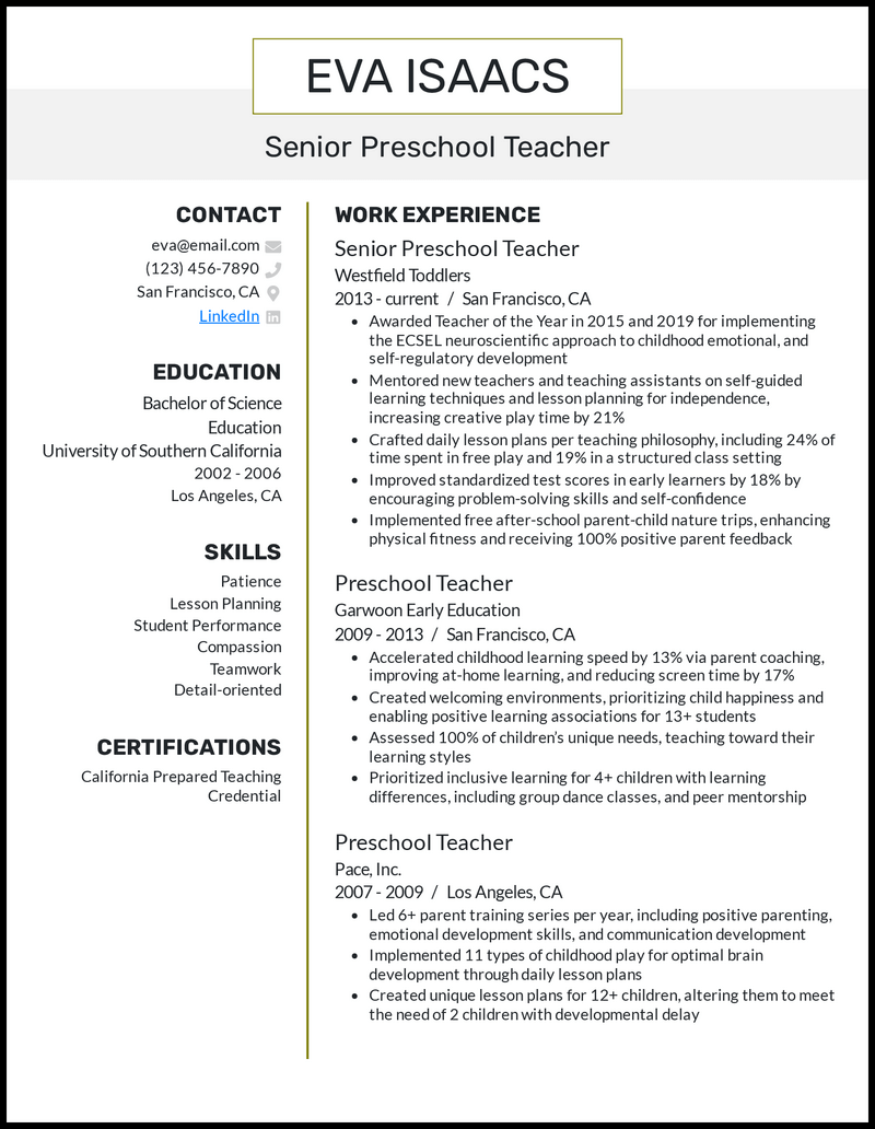 Senior Preschool Teacher resume example