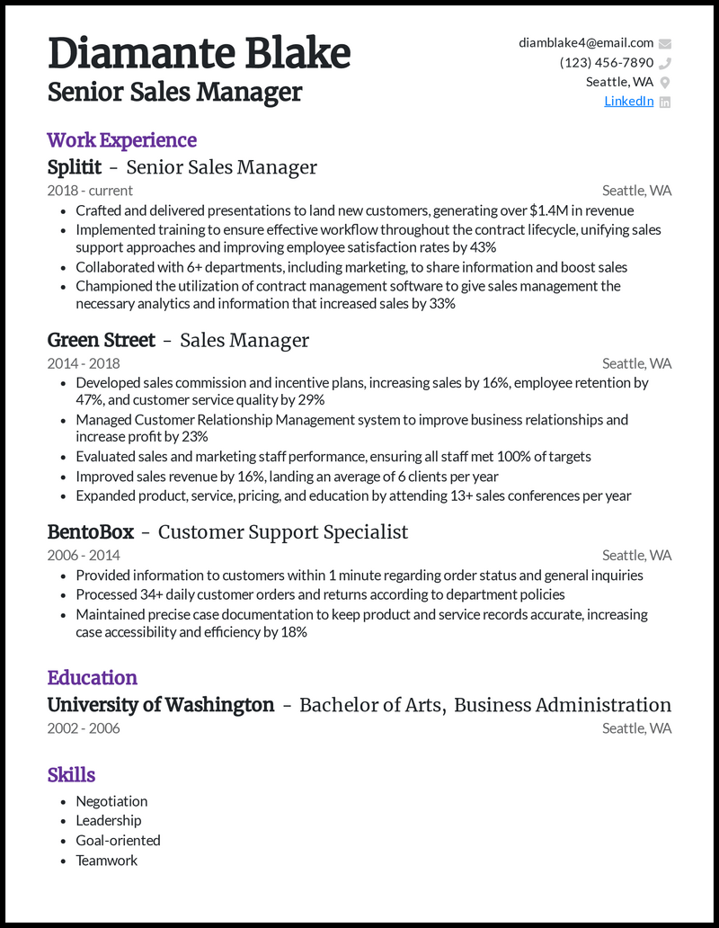 Senior Sales Manager resume example