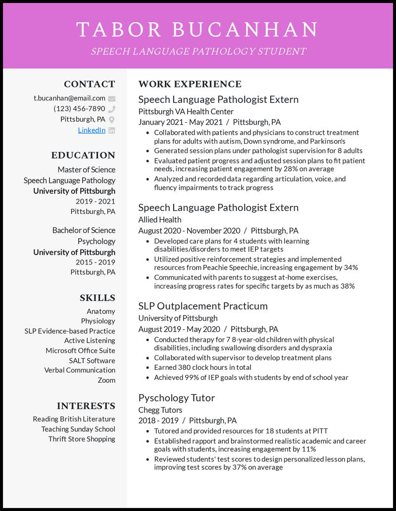 SLP Grad School resume example