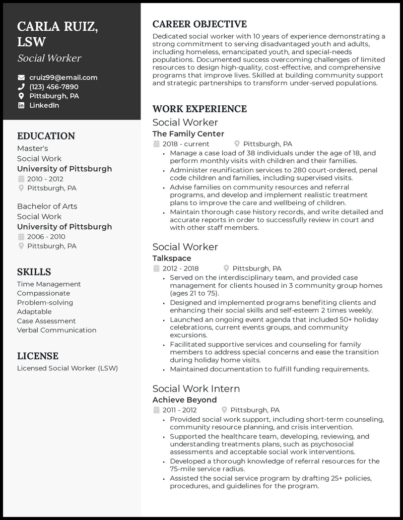 Social Worker resume example