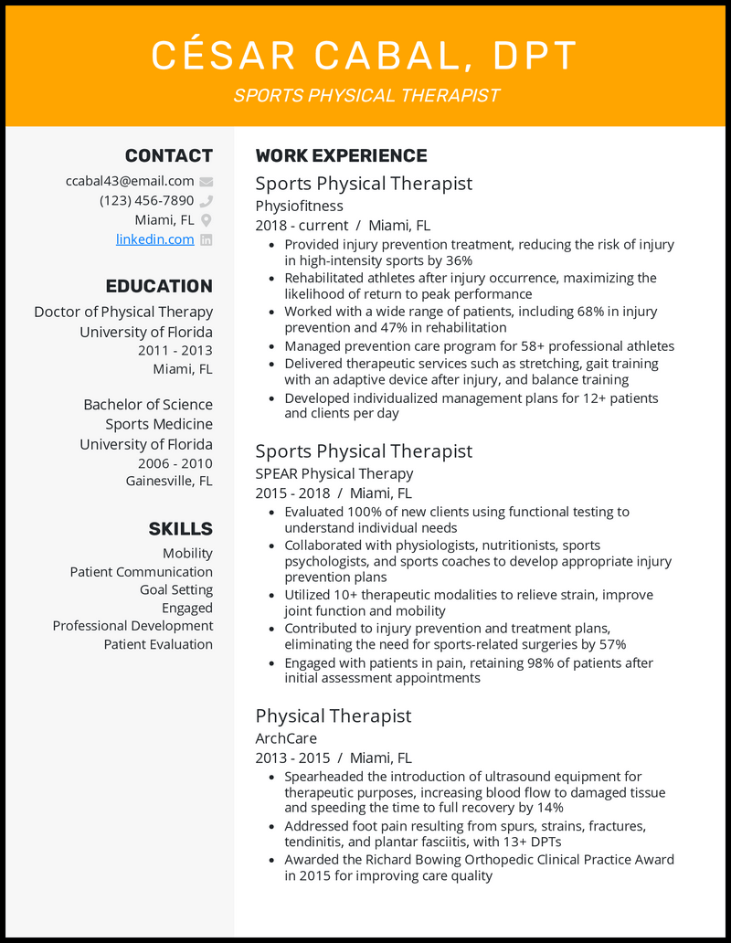 Sports Physical Therapist resume example