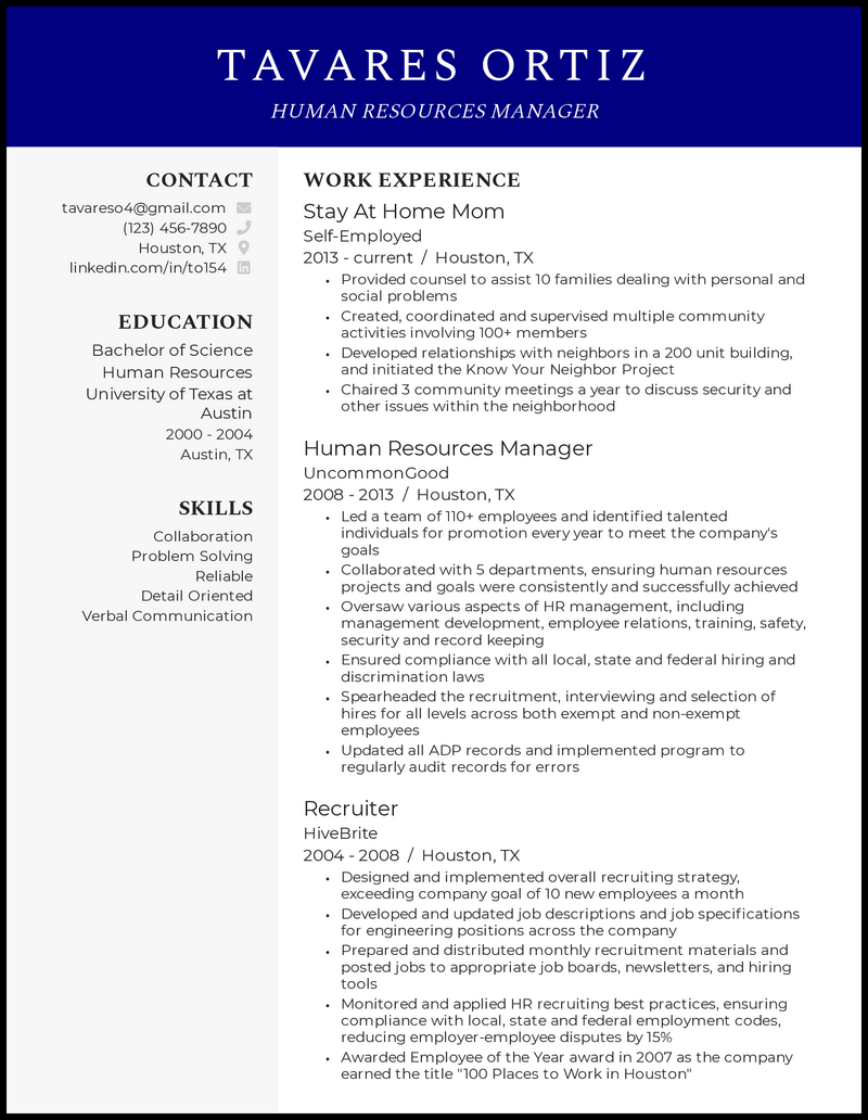 Stay At Home Mom Returning To Work resume example