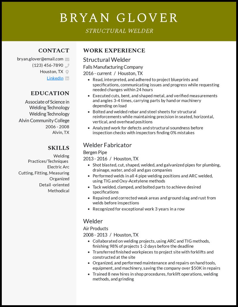 Structural Welder resume example