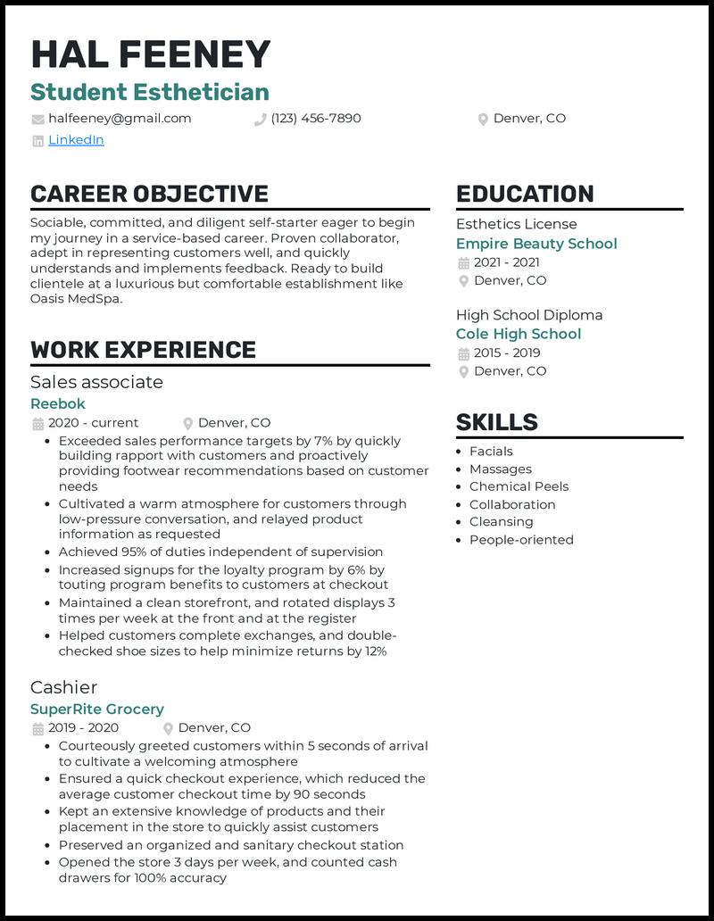 Student Esthetician resume example
