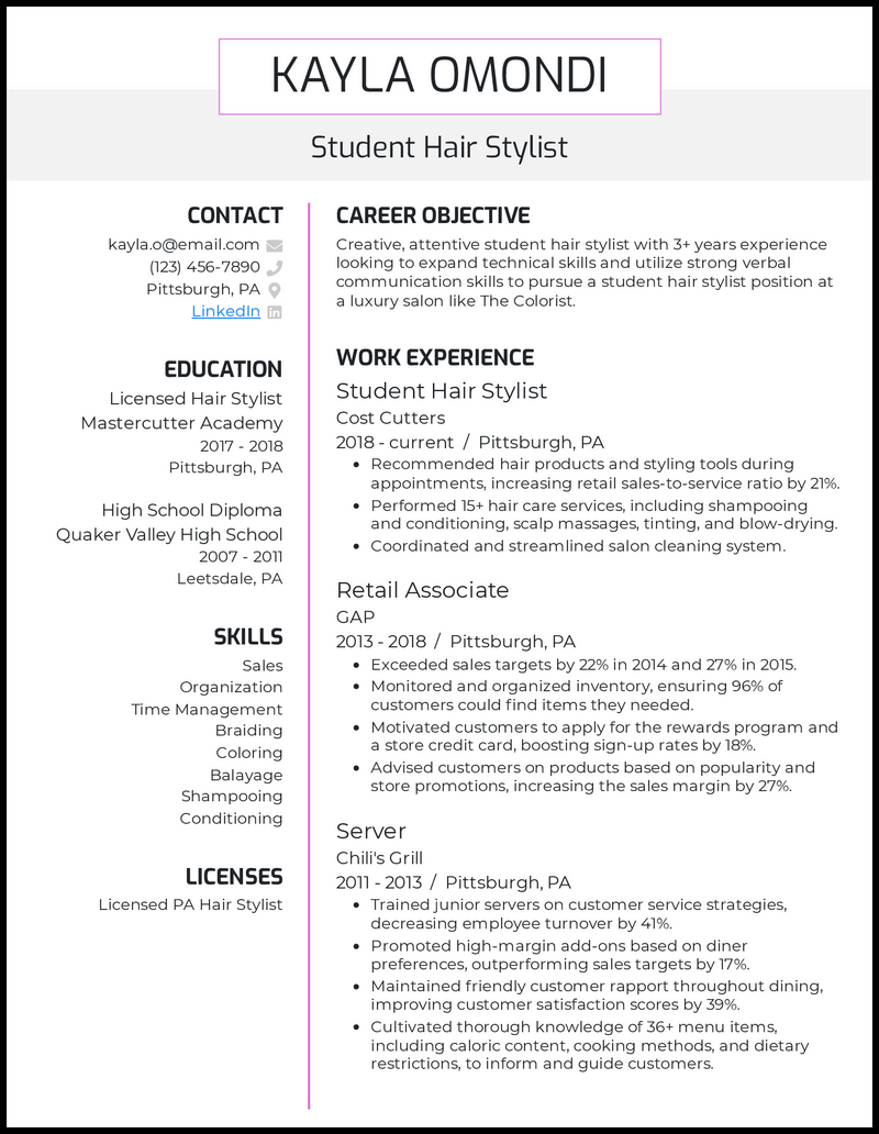 Student Hair Stylist resume example