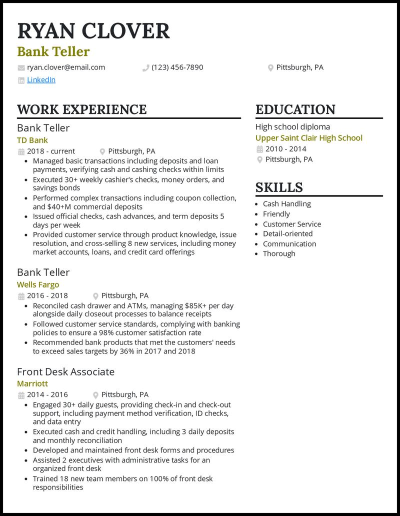 TD Bank Teller resume example