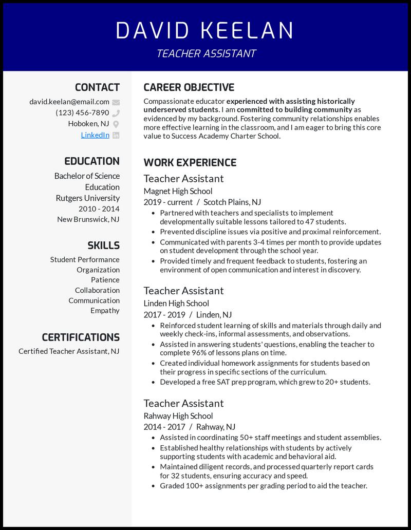 Teacher Assistant resume example