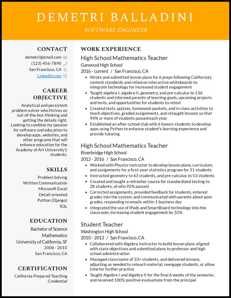 Teacher Career Change resume example