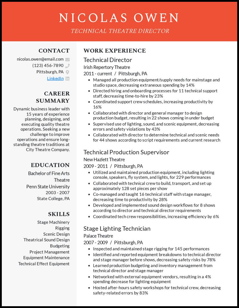 Technical Theatre resume example