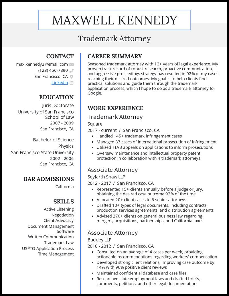 Trademark Attorney resume example