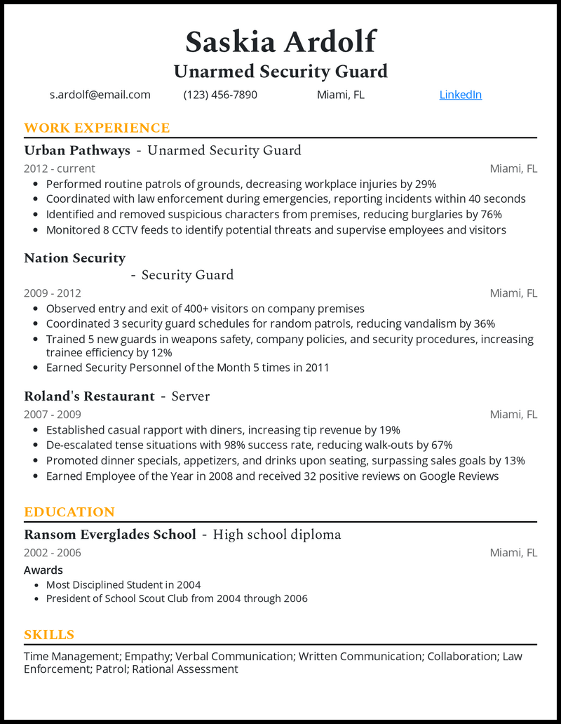 Unarmed security guard resume example