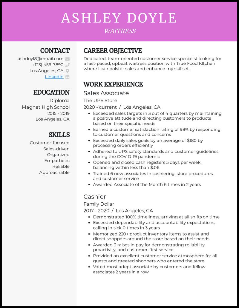 Waitress Resume No Experience resume example