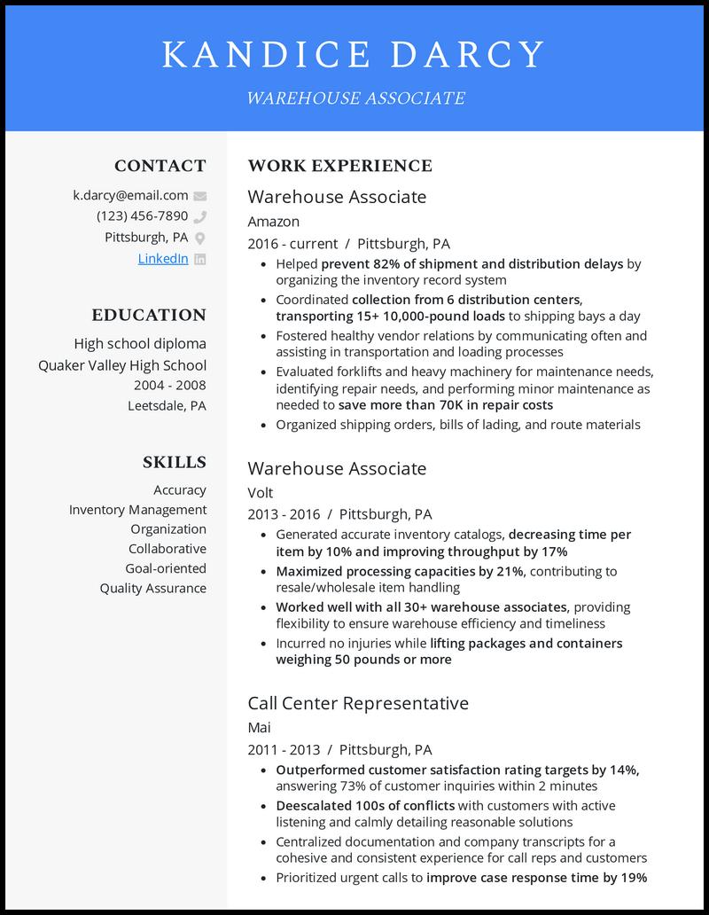 Warehouse Associate resume example