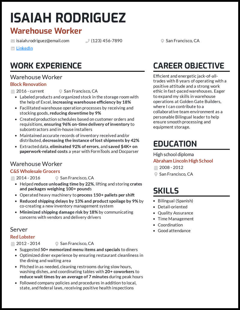 Warehouse Worker resume example