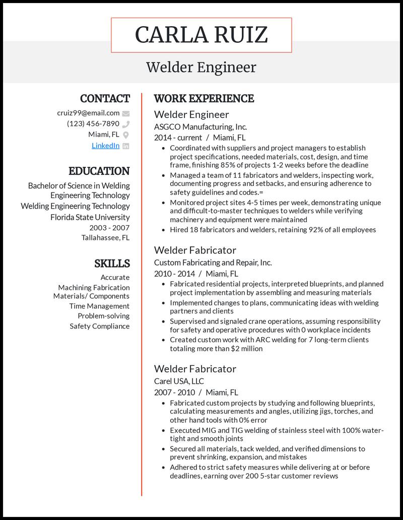 Welder Engineer resume example